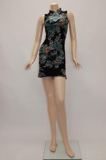 glossオリジナル 青い花柄チャイナ ブラック ショートドレス
