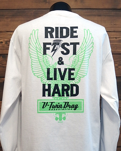 "V Twin Drag Association L/S T-SHIRT ""RIDE FAST & LIVE HARD"""