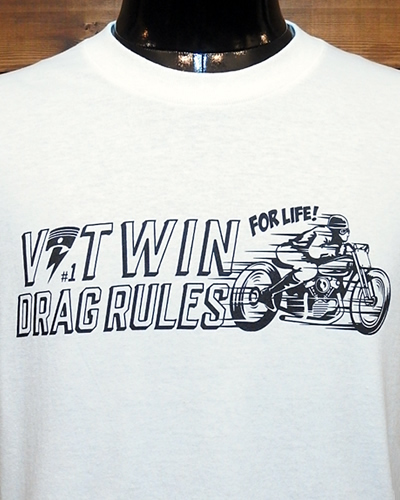 V-Twin Drag Association Tシャツ DRAG RULES ホワイト