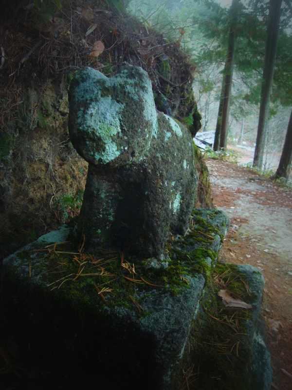 苔生した狛犬