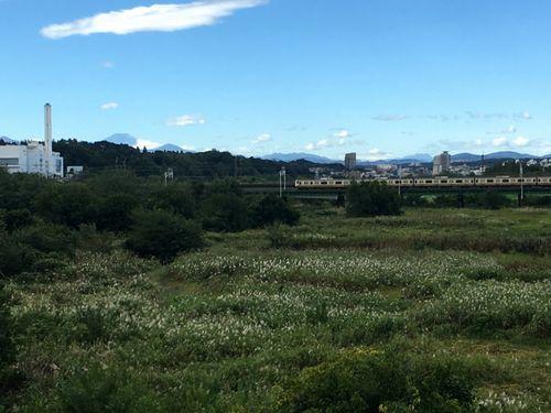西の空には青空がひろがる 電車が徐行運転して通る