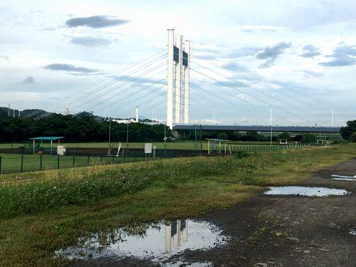 昨日降った雨が水たまりとなって是政橋が映る