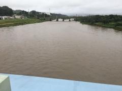 橋の上流 水量が増した多摩川の流れ