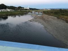 水量の減った川の流れ
