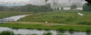 14:33 左手水路や河川敷の道に浸水してくる