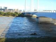 橋脚に残る水位の跡