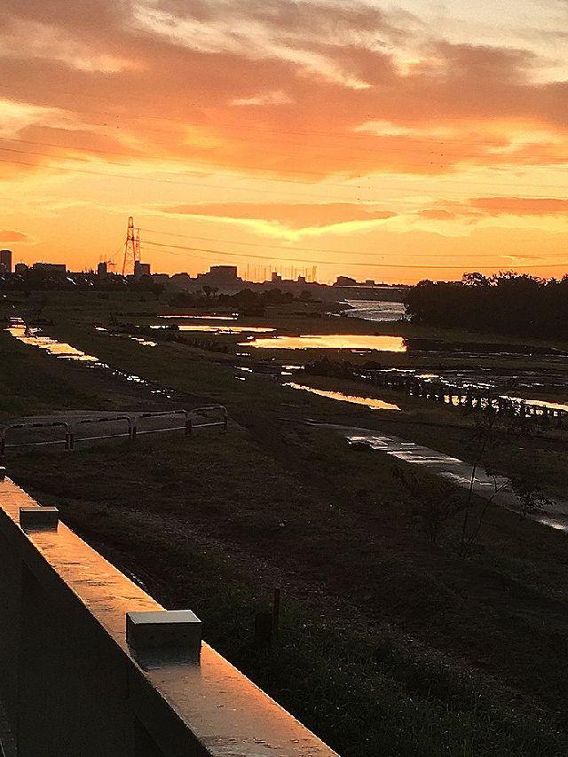 河川敷に水溜まりが照らし出される