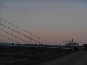多くの人が是政橋で日の出を待っている