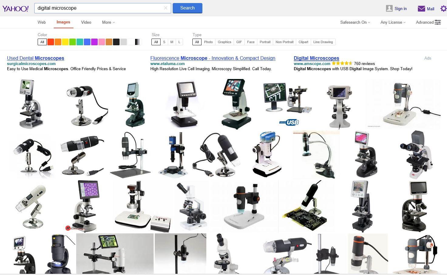 USA Yahoo digital microscope検索結果