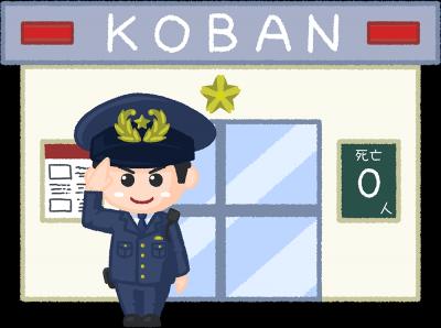 交番に勤務する警察官のイラスト