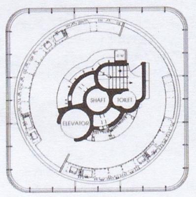 研究棟、円形階の平面図.jp