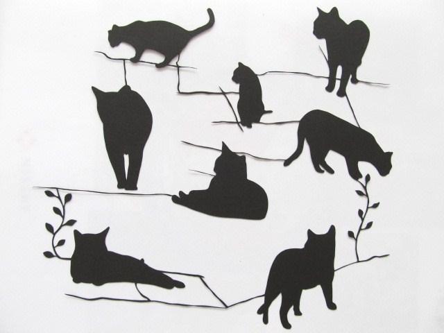 猫 インテリア 切り絵