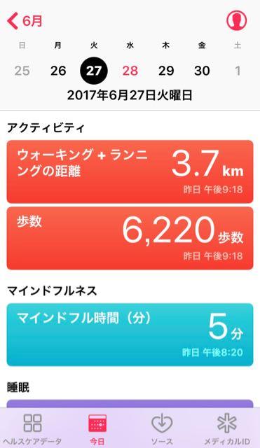 nalblog.com nalブログ。写真と旅と言葉たち 2017年6月27日(火)健康記録 2017年6月27日(火)曇り・雨  歩数:6,220歩 歩いた距離:3.7km 睡眠時間:7時間53分 マインドフル時間:5分  まずまずというところ。この日からマインドフル時間も記録することにしました。瞑想がいいとは前々から聞いていて何度か試したことはありましたが、難しいと感じることが多くなかなか続きませんでした。今回は、ヘルスケアのマインドフルネスを開いて出てきたオススメから「Simple Habit」というアプリをダウンロード。とりあえず、1日5分の瞑想をする7日間のプログラムを始めました。1日目は、瞑想をするときの場所や姿勢、呼吸の仕方を教わりました。英語ですが、ゆったりとした声でゆっくりと話してくれるので、理解しやすかったです。思っていたよりも気楽で、わかりやすく、これなら続けられそうかなという感じです。
