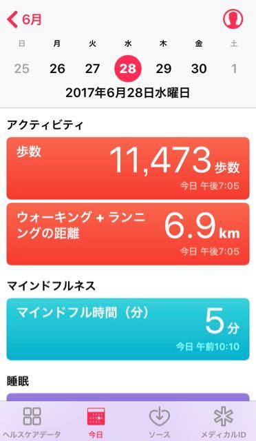nalblog.com nalブログ。写真と旅と言葉たち 2017年6月28日 (水) 健康記録 2017年6月28日 (水) 曇り・雨  歩数:11,473歩 歩いた距離:6.9km 睡眠時間:8時間 マインドフル時間:5分 血圧:106/59 心拍数:63拍/分  この日は「納豆のひみつ」という講習会に参加するために出かけました。試しにバスの中でマインドフルのアプリ「Simple Habit」を開いて5分間のマインドフル時間を持つことに。瞑想は静かな場所で行うものというイメージがありましたが、こちらはそうでもないようで、好きな場所に座って、その場所で聞こえる音とかもそのまま感じ取るようガイドでは言っています。実際やってみると心がスーッと落ち着いていくのがわかりました。2日目のこの日は、頭からつま先までを体感することを学びました。 バイタルはたまたま機会があったので測ってみました。  食事内容の記録はもう少しこの記録作業が定着してからにしようと思います。
