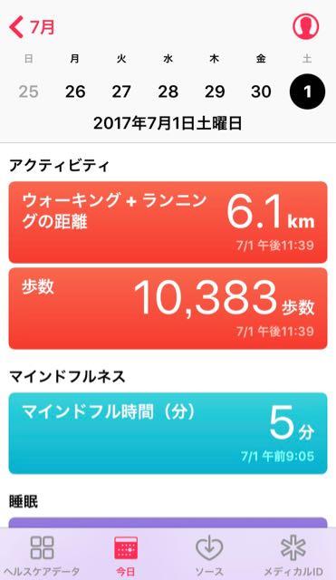nalblog.com nalブログ。写真と旅と言葉たち 2017年7月1日 (土) 健康記録 2017年7月1日 (土) 晴れ・曇り  歩数:10,383歩 歩いた距離:6.1km 睡眠時間:5時間57分 マインドフル時間:5分  活動的な1日でした。朝の買い物と、近くの山に撮影をしに行ったのでこの歩数です。睡眠時間が若干少ないので、昼寝等で補足したいと思います。8時間は寝ないと体が持ちません。本当は10時間くらい寝たいです。 毎日意識的に記録をつけてみると変化があって面白いです。1日の記録をまとることで客観的に見れるということもあるので、続けたいと思います。日曜日はお休みします。次は月曜日です。
