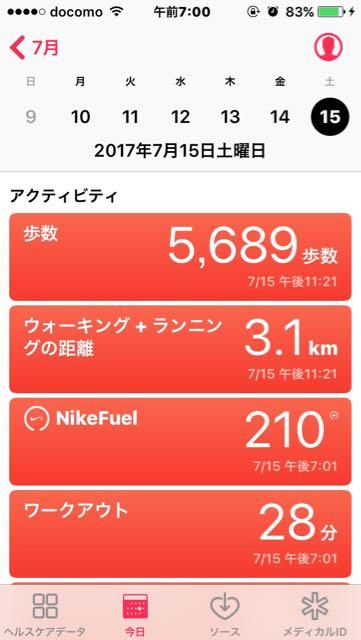 nalblog.com なんとかなる、なんとかする。2017年7月15日(土)健康記録 2017年7月15日(土)晴れ  歩数:5,689歩 歩いた距離:3.1km 睡眠時間:7時間53分 マインドフル時間:0分   ここ最近安定して6時までには起床できるようになってきました。相変わらず目覚めはぼーっとしているのであまり多くのことはこなせませんが、ラジオ体操までの30分はスマホでメールチェックを始めるとすぐに時間が経ってしまいもったいないので、朝起きて一番は洗顔が終わったら白湯を飲み、アロエベラのジュースを飲んで夜の間に失われた水分・ミネラル・微量栄養素を補給。5時半より早く目が覚めたら朝の散歩に出かけます。6時近くの起床だと、顔洗って水分補給したりお湯をわかしていたら5〜10分ほど余るので、軽く掃除をしたりします。この日は来客があったので、作業は2時間ほどで切り上げお客さんを迎える準備をしました。お昼過ぎから夕方まで食事をとりながらゆったりおしゃべりをして楽しい時間を過ごしました。ほとんど座りっぱなしだったので、夕方の散歩だけではもの足りずヨガも取り入れて調整。充実の土曜日でした。 Yamada_Yuko_www.nalblog.com-yukoyphoto_ - 1 (2).jpg