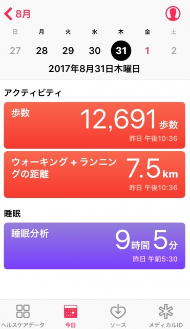 nalblog.com なんとかなる。なんとかする。2017年8月31日(水)健康記録 2017年8月31日(水)健康記録  歩数:12,691歩 歩いた距離:7.5km 睡眠時間:9時間5分 マインドフル時間:0分  前の晩は9時就寝、目覚ましを無意識で止めて寝続け起床が8時半ごろなので、表示より2時間半プラスということで12時間弱 眠りました。眠れたおかげで心も体もスッキリです。翌日の準備、お墓参りから買い物までよく動き回った一日でした。今年もなんとか夏を乗り切りました。まぁおなかの調子を崩したことを除けば、体重も落ちずよく頑張ったと思います。平熱が37度になったここ5,6年、暑さにも多少強くなったような気がします。 これから寒暖の差が出てくるので、温かくして手足やおなかを冷やさないようにしたいです。