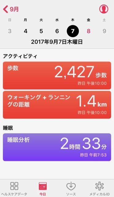 nalblog.com なんとかなる。なんとかする。2017年9月7日(木)健康記録 2017年9月7日(木)雨・曇り  歩数:2,427 歩いた距離:1.4km 睡眠時間:2時間33分 マインドフル時間:0分   睡眠時間がやけに少なく表示されていますが、ちゃんと寝ました。就寝時間は通常よりも遅い深夜1時過ぎで、朝までぐっすり眠れました。また最近早朝に起きられず、朝のラジオ体操のチャンスを逃してばかりなのですが、3時の体操はするようにしています。 この日は作業はせず、アドビのジュリアンヌ・コストさんのセミナーを見つけたので勉強の日としました。一度オーストラリアで参加したときに感銘を受け、以来2回めのセミナーです。イメージ作るの楽しいよーとデジタル暗室の世界を紹介してくれます。Lightroom/PhotoshopCCになってから新しい機能も増えたので、定期的に新しい情報をくれしかもそれをオンラインで見れるのは助かります。そんなこと言いつつ、下の写真はLightroomもPhotoshopも全然絡んでいない、スマホでとってそのままの写真です。。不思議な空の色でした。