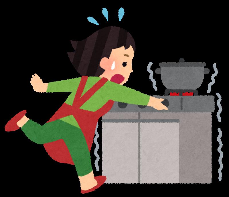 地震で慌てて火を止める-債務整理体験談