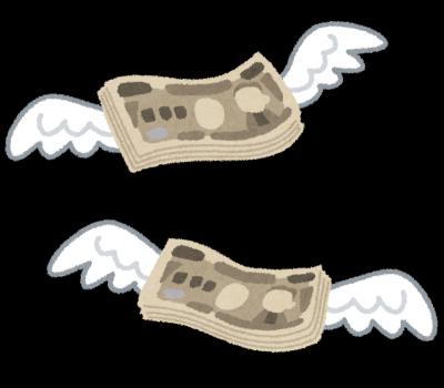 羽が生えたように飛んでいくお金