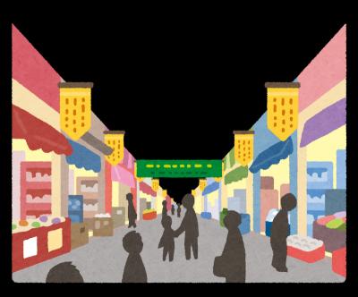 商店街で消費者金融の無人契約機を探す