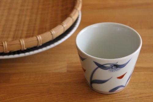 砥部焼・梅山窯:そば猪口カップ/七寸丸皿