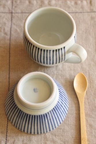 砥部焼・梅山窯:くらわんか茶碗・子ども、ミルクカップ