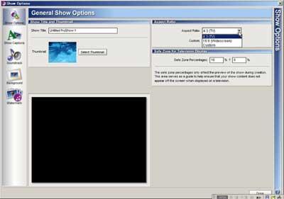 Proshowメインオプション画面