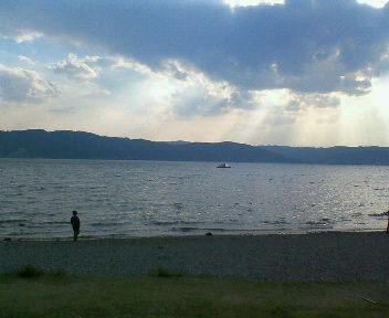 綺麗な夕陽と諏訪湖