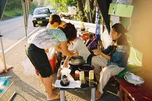 沖縄高江-ヘリパッドNo1地区入口 おにぎりが美味しそう!