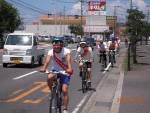 自転車を走らせる「ピースサイクル長崎」