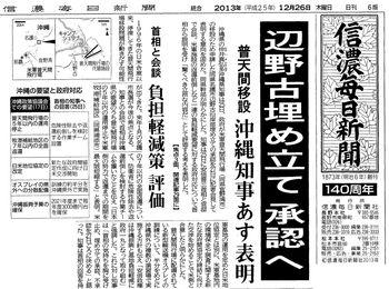2013.12.26 信濃毎日新聞 1面