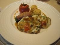 豚肉のバジルとズッキーニとモッツァレラチーズのグラタン仕立て