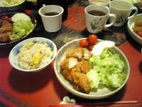 栗ご飯とチキンカツ