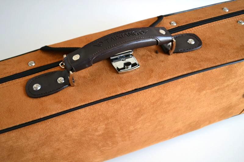 二胡用高級カラーハードケース(ブラウンゴールド)手提げ部分