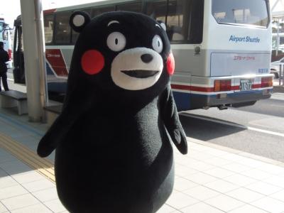 熊本のキャラクター、くまモン。鹿児島空港に遊びに来ていたらしい。(撮影者:ワコー)