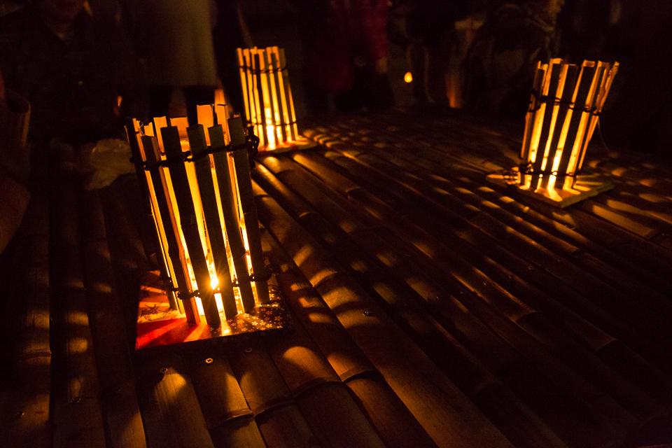 テーブル竹灯り