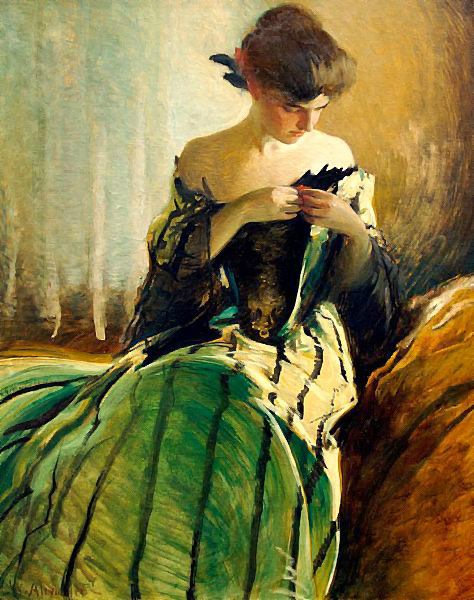 J Fisher Painting Of A Lady In Blue Dress