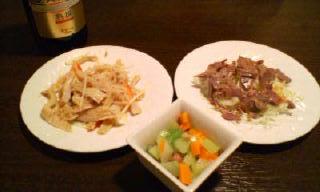 鶏砂肝と牛ハチノス、お通し&熟選ビール
