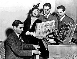 Berlin with film stars Alice Faye, Tyrone Power and Don Ameche singing chorus from Alexanders Ragtime Band (1938)
