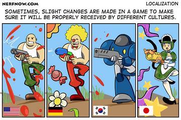 米独韓日のゲーム風刺漫画