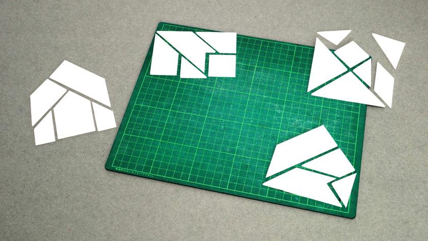 直線切りで簡単に作れるシルエットパズル