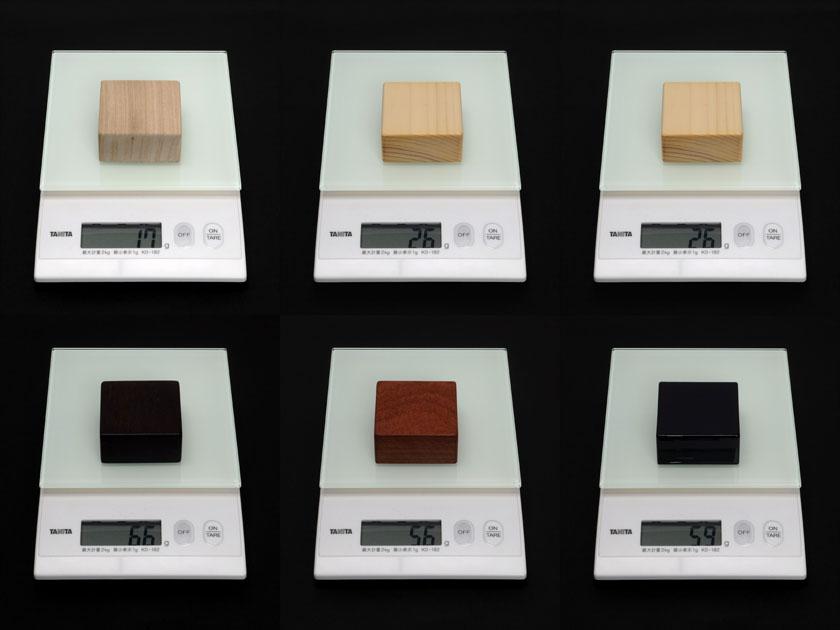 木のブロックの体重測定