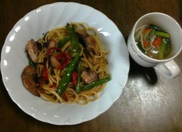 鯖とシシトウのスパゲティ