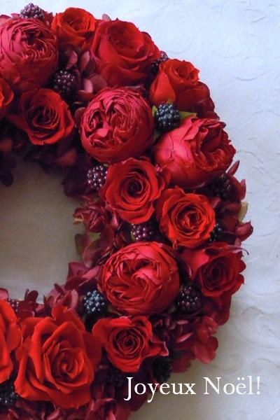 赤バラのリース