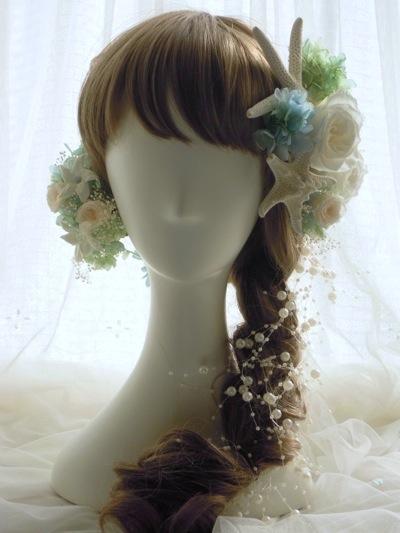 編み込み 花髪飾り