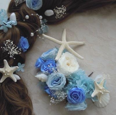 ブルードレスの髪飾り