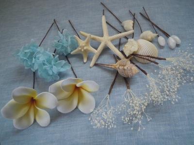 プルメリアと貝殻の髪飾り