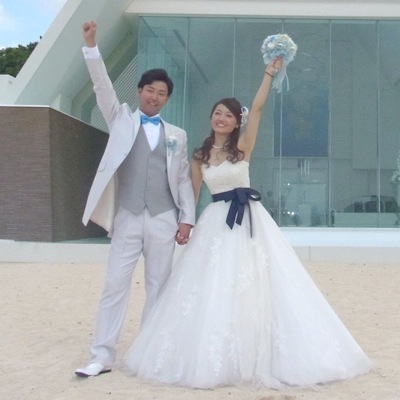 貝殻ブーケと花嫁