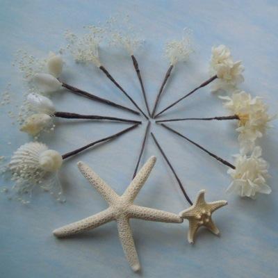 スターフィッシュと貝殻の髪飾り